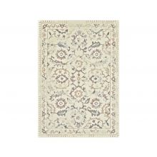 5' X 8' Cream And Grey Faded Scroll Patern Rug