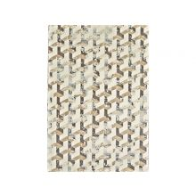 5' X 8' Cream And Silver Faded Optical Patern Rug