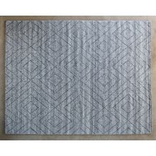 8' x 10' Natural Diamond Patterned Wool Rug