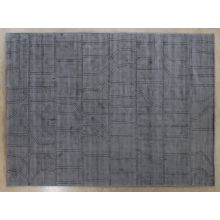 9' X 12' Gray Hand Knotted Carved Rug
