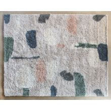 8' X 10' Abstract Cream, Peach, & Blue Wool Rug