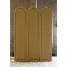 Burlap 3-Panel Screen with Nailhead Trim