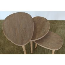 Set of 3 Hardwood Nesting Tables in Natural Finish