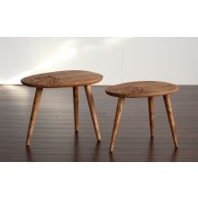 Set of 2 Natural Sheesham Wood Oval End Tables