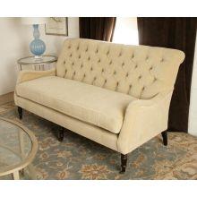 Blond Velvet Tufted Sofa