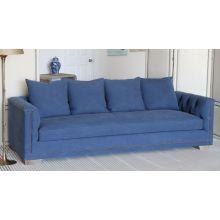 Blue Denim Sofa with Natural Nailhead Trim and Reclaimed Block Legs