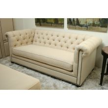 Cream Chesterfield Sofa with Small Pewter Nails
