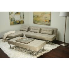 Light Gray Tweed Sectional Bench Ottoman
