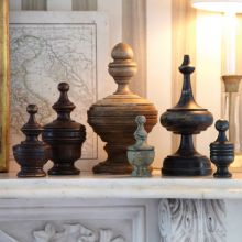 Set of 6 Assorted Wooden Finial Boxes - Cleared Décor