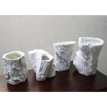 Set of 4 Assorted Sizes of White Faux Bois Pots