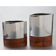 Set of 2 Assorted Wood and Metal Elliptical Vases