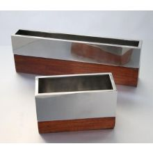 Set of 2 Assorted Wood and Metal Rectangular Vases