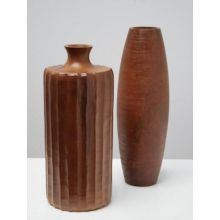 Set of 2 Wood Vases