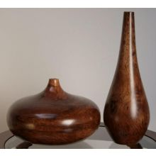 Set of 2 - One Tall and One Onion Shape Wood Vases