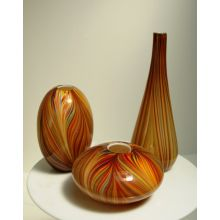 Set of 3 Orange Pucci Vases