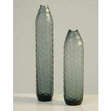 Set of 2 Indigo Chisel Glass Vases