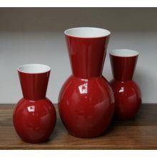 Set of 3 Cranberry Vases