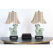 Celedon Foo Dog Table Lamp