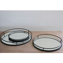 Set of 3 Mirrored Iron Railing Trays