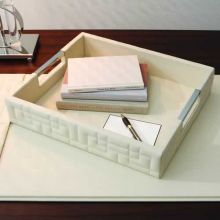 Quilted Ivory Leather Tray